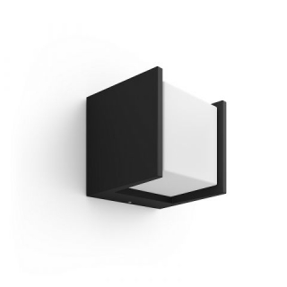 Fuzo Hue White EU Wall Lantern Black 1x Square