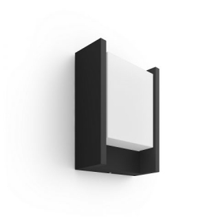 Fuzo Hue White EU Wall Lantern Black 1x Rectangular