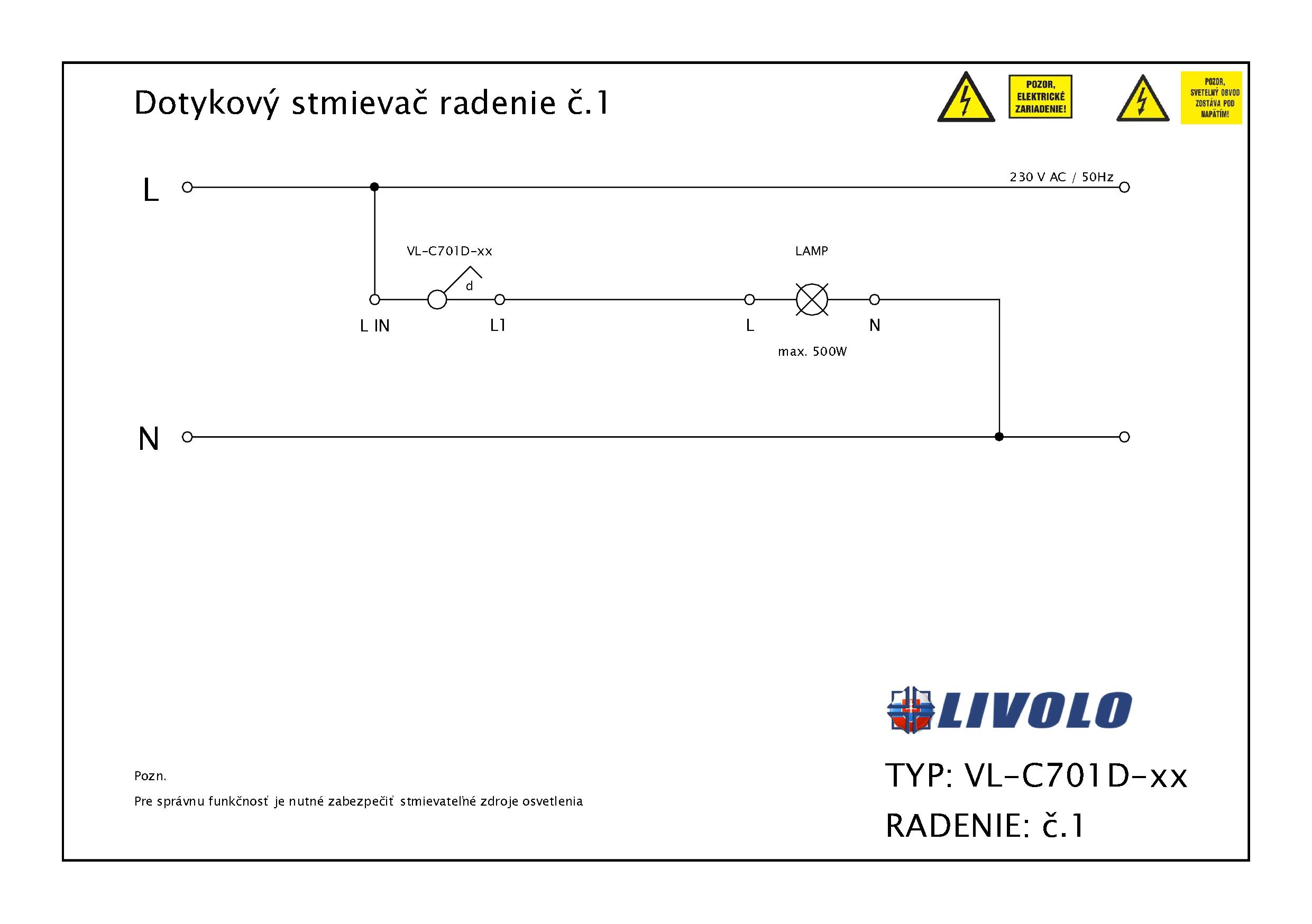 Dotykový stmievač LIVOLO VL-C701D-11